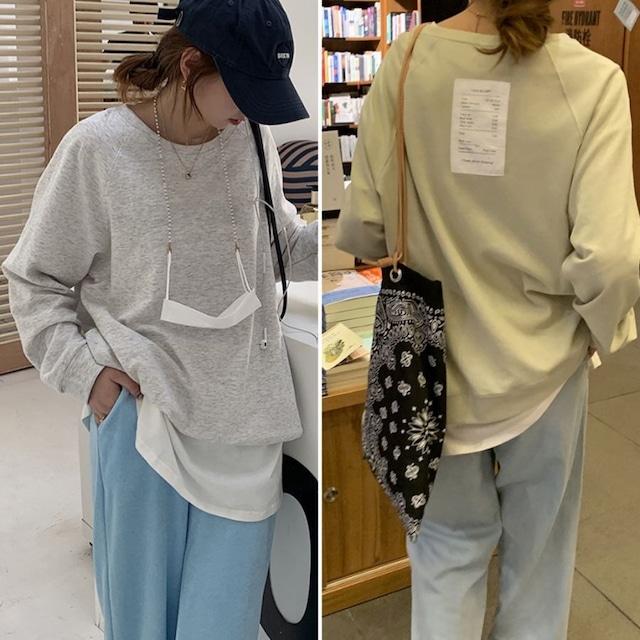 ◆即納◆バックラベルデザイン オーバーサイズ ロングtシャツ
