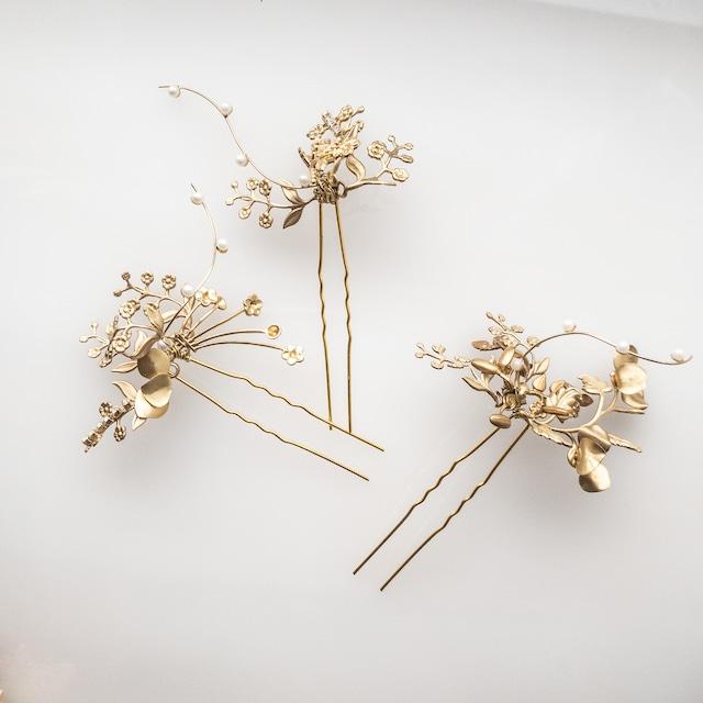 【和装・洋装】パール gold mini flowerヘッドドレス 【3点セット】