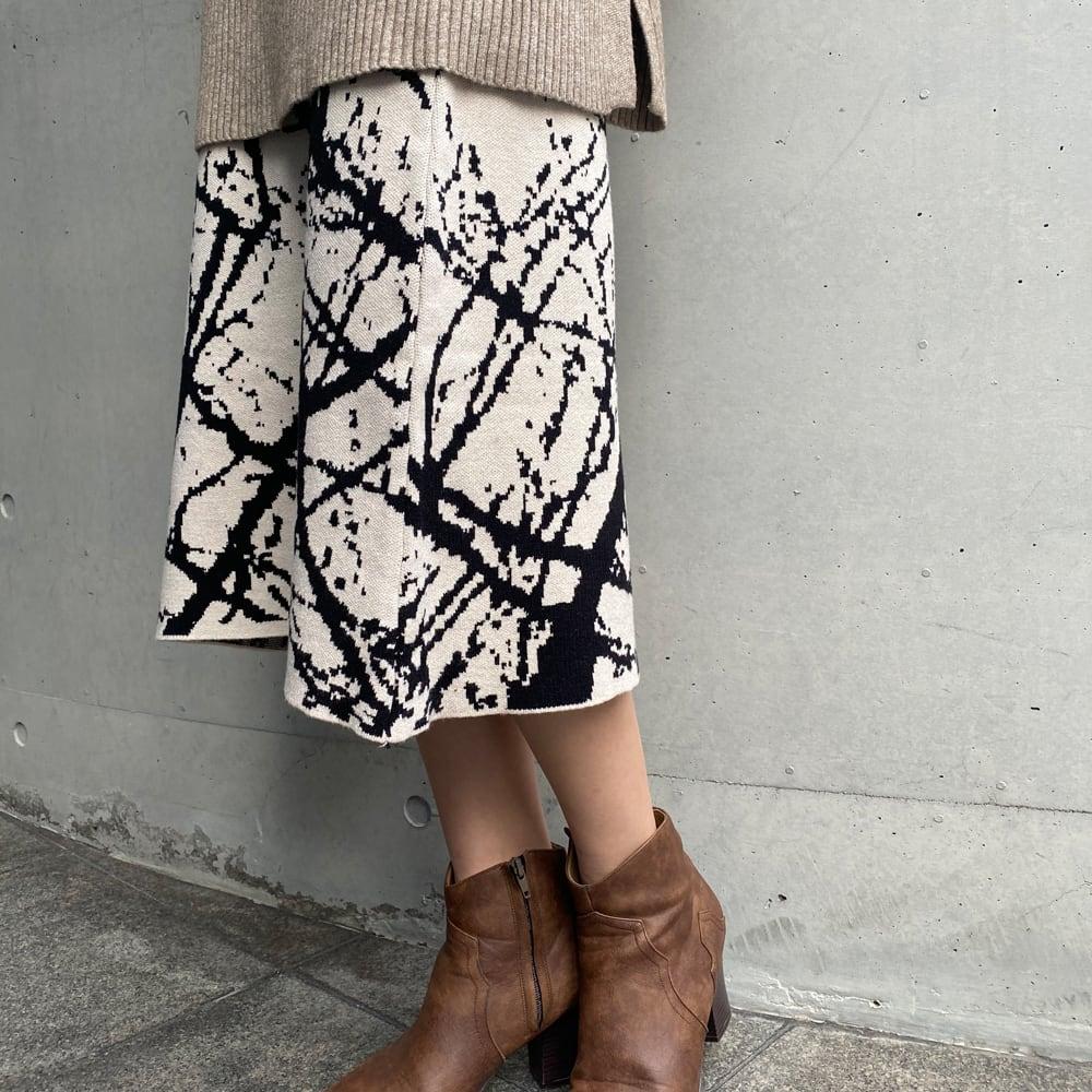 【即納】ヴィンテージ プリントニット スカート   2色 レトロ ロングスカート