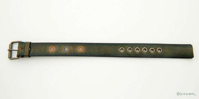 木版染革ベルトカーキー丸L