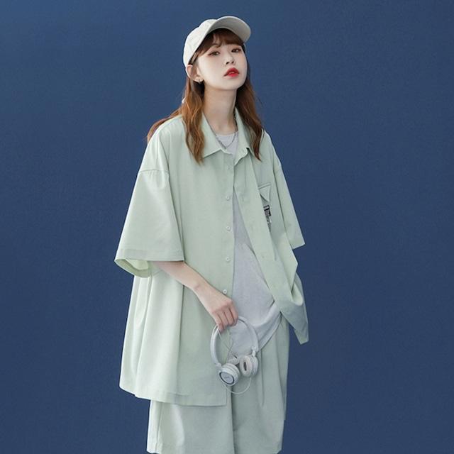 アイシーカラーオーバーサイズシャツ+ハーフパンツ S4222