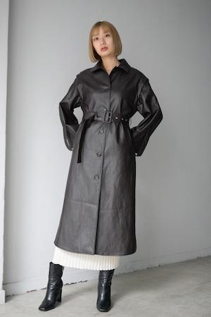MARTE / Fake Leather Coat / Long vest (Dark Brown)
