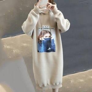 【ワンピース】好感度UPファッションフード付き長袖プリントカジュアルワンピース52263584