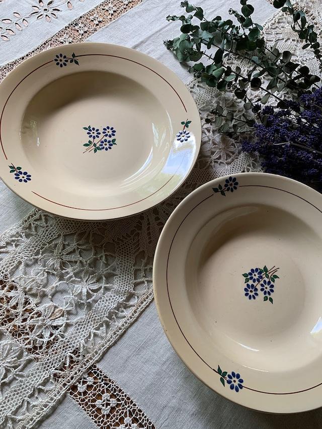 青い花のスープ皿 【2枚セット】GENEVIEVE