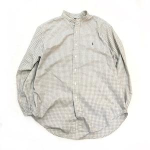 【USED】リメイク ラルフローレン バンドカラーシャツ  グレー系チェック