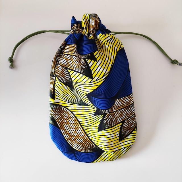 アフリカンファブリック お財布袋 Tulip 巾着・アフリカンプリント