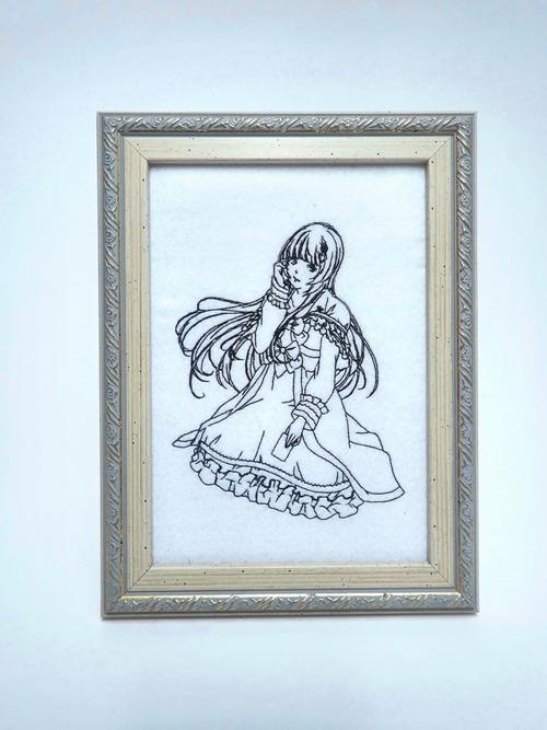 キャラ縫い額装刺繍 王女シャッフル「カード遊びに興じる王女」