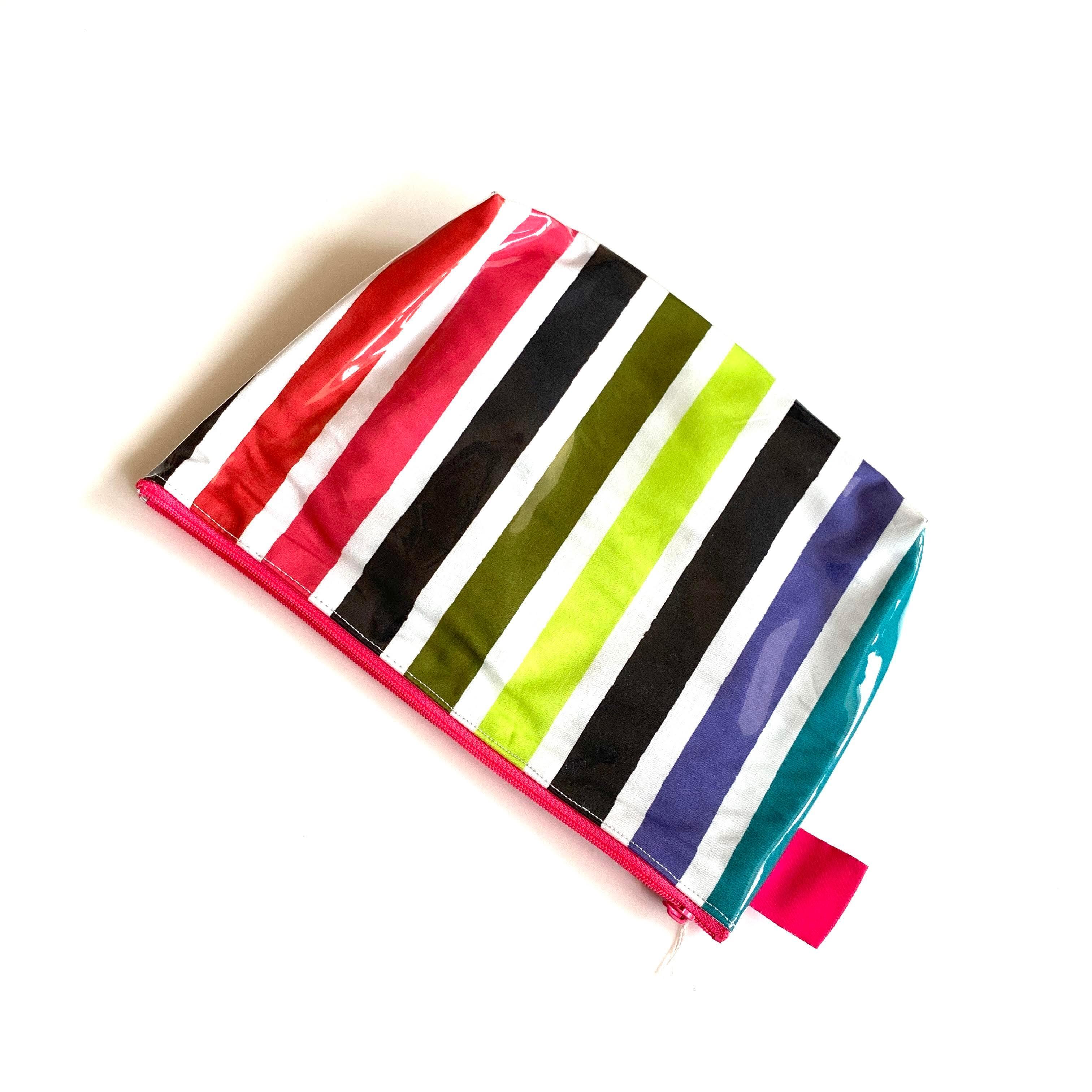 北欧デザイン PVCポーチ | Lサイズ | multi stripe