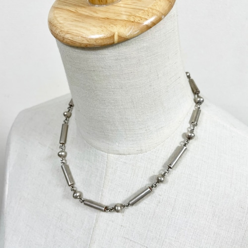 Vintage Sterling Ball & Bar Chain Necklace