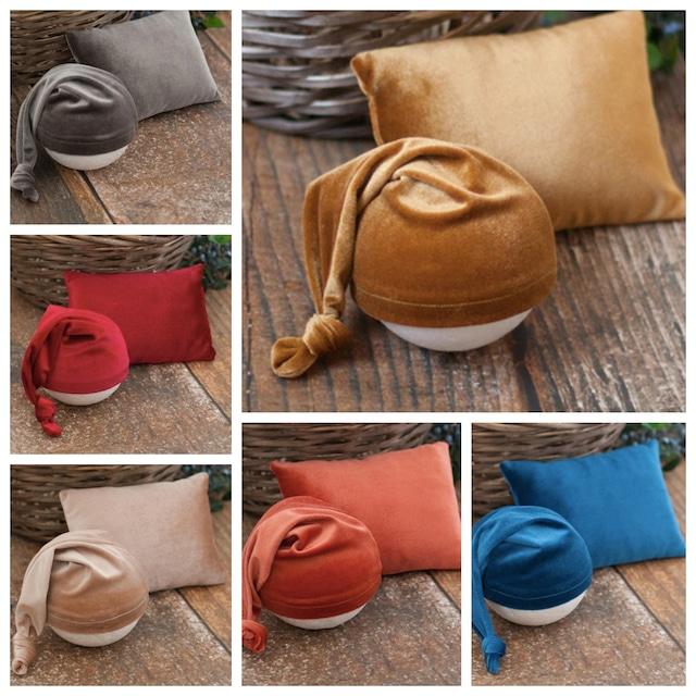 冬の定番♡ベルベッド帽子&枕セット/全12カラー