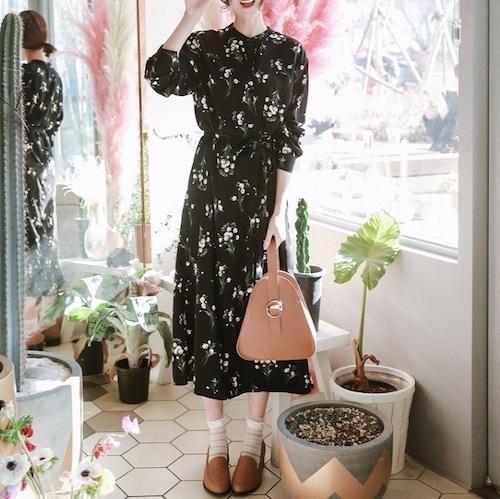 【送料無料】 ワンピース ロングワンピース 長袖 花柄 フレア シフォン 大きいサイズ 秋冬 大人可愛い 上品