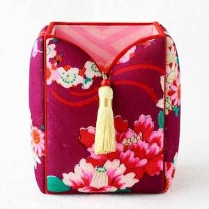 和風インテリア雑貨 ペン立て ブラシ入れ 小物入れ 赤紫・花尽くし紋様 2