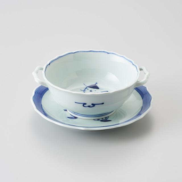 """【青花】""""オランダ万才"""" 耳付スープ碗皿"""