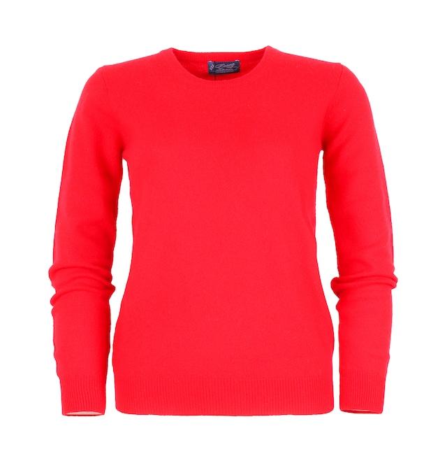 婦人クルーネックセーター (100%ピュアカシミヤ) 色 赤 (224) 型番:1217−1490