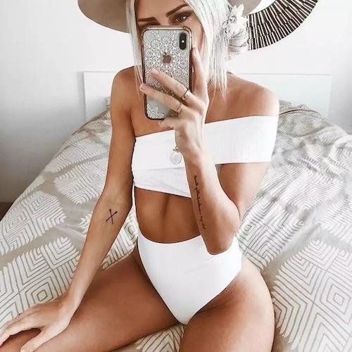 Bikini♡ワンショルダーバンドゥビキニ ホワイト