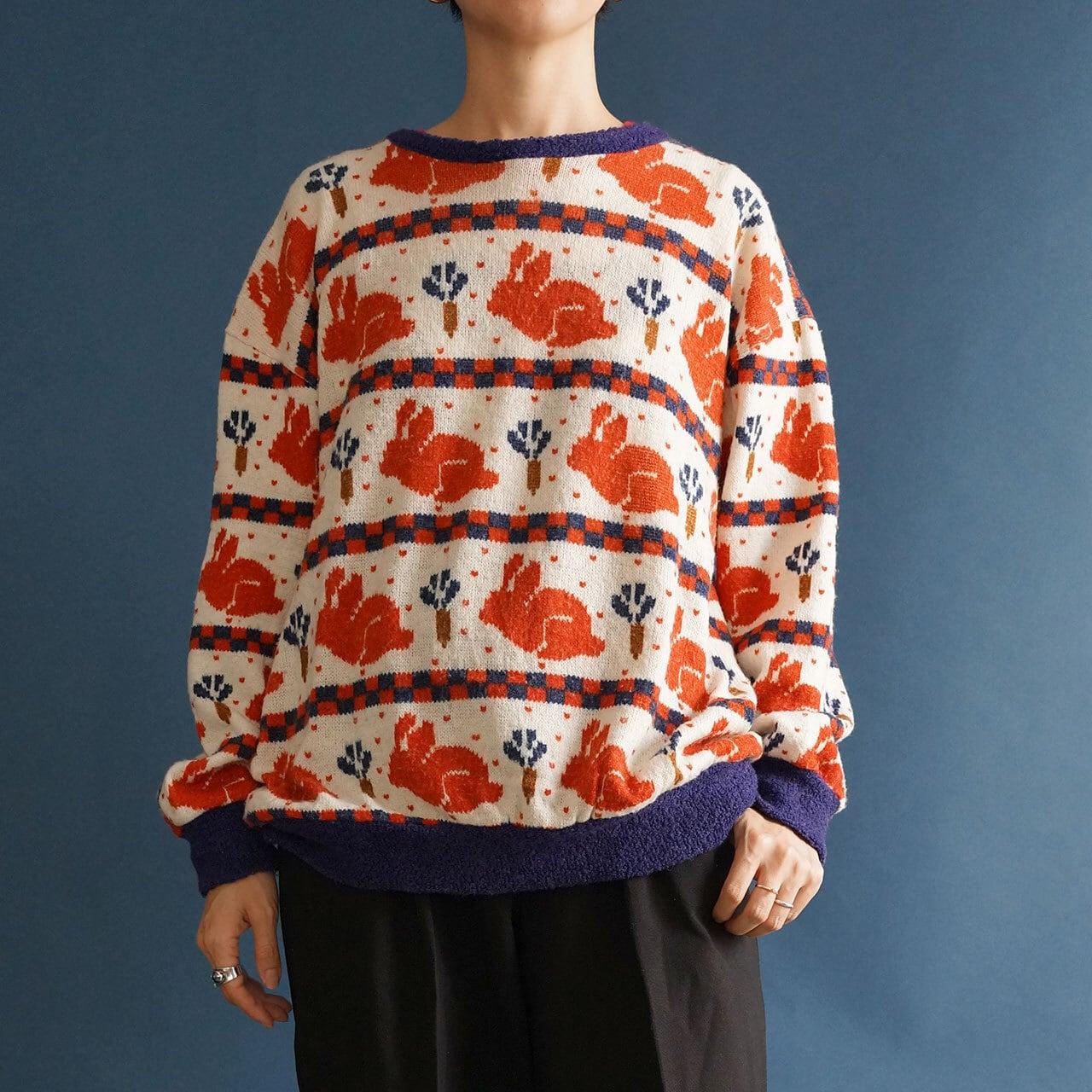 【送料無料】70's Ivory Sweater With Rabbits