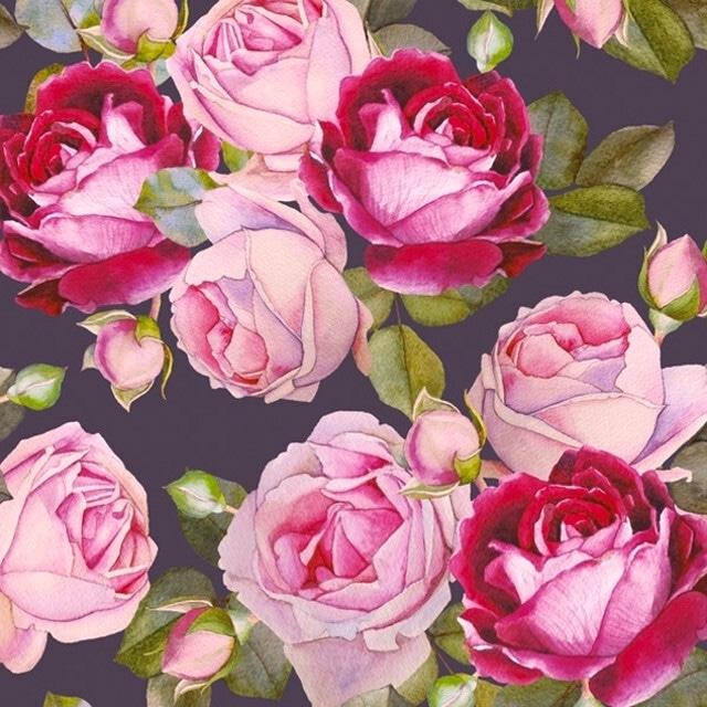 【Maki】バラ売り2枚 ランチサイズ ペーパーナプキン Rosa Black ローズ