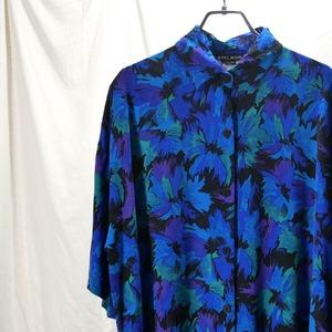 【USED】ブルー 花柄 半袖 レーヨンシャツ