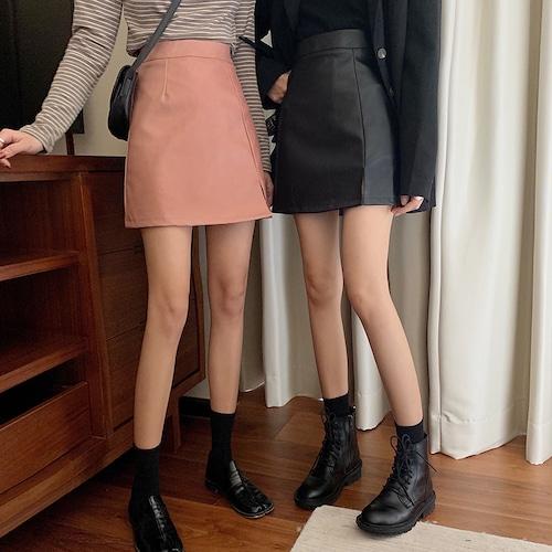 3色/フェイクレザーミニスカート ・18220
