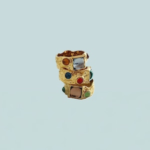 jelly crystal gold ring