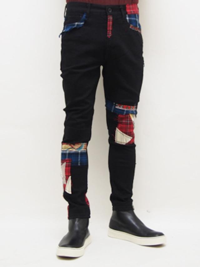 SEVESKIG (セヴシグ)  SKINNY REPAIR PANTS / BLACK   PT-SV-HA-1011-1