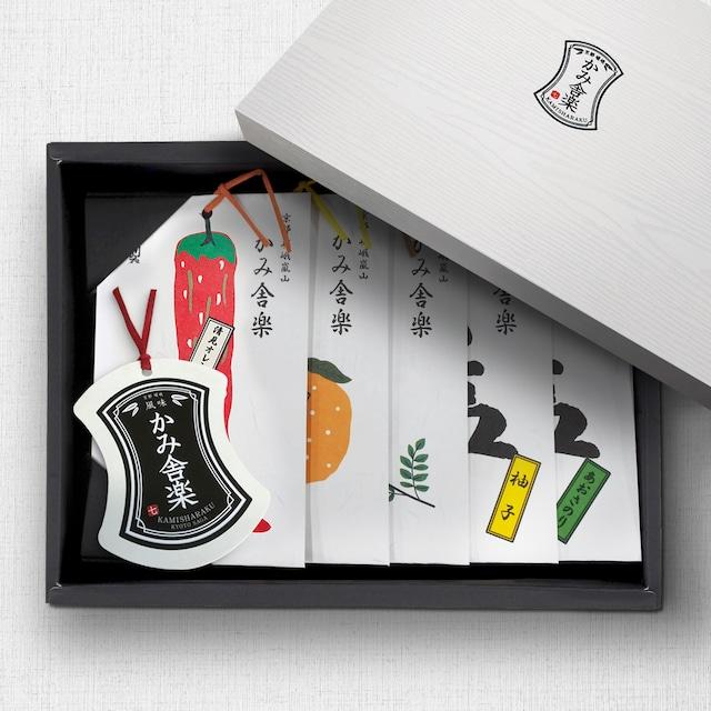 《木箱入り》Aセット  七味1・山椒1・塩3  五種詰合せ /《Wooden gift box》Set A (5-Flavor Assortment)