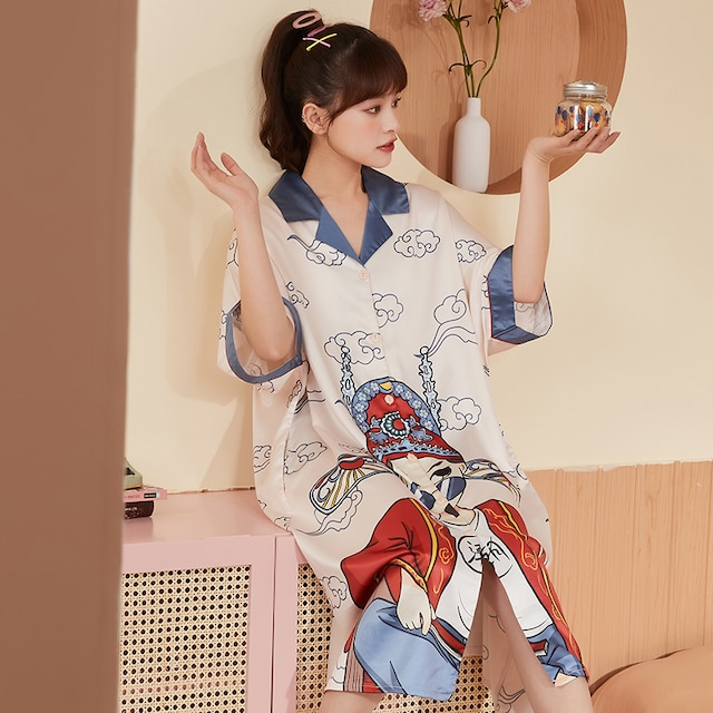 【YUZHAOLINシリーズ】★チャイナ風パジャマ★ ワンピース 人工シルク 大きいサイズ 京劇 ゆったり 可愛い