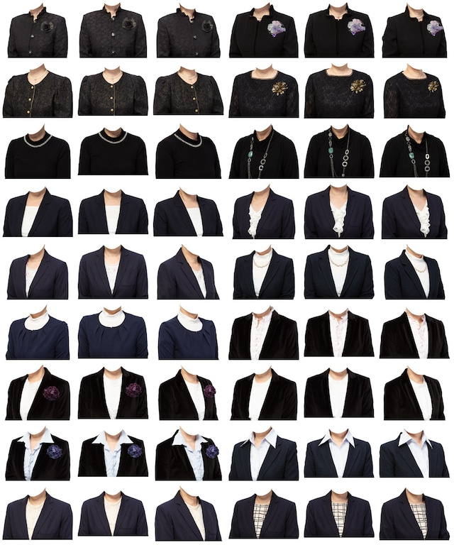 女性着せ替え素材セット(黒系) 54個 C212