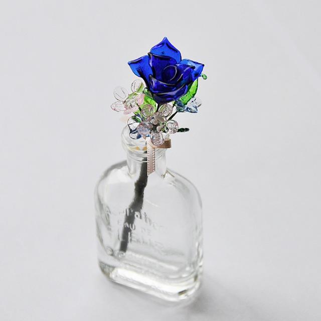 グラスフラワー プチブーケ(青いバラと小花/小瓶付き)