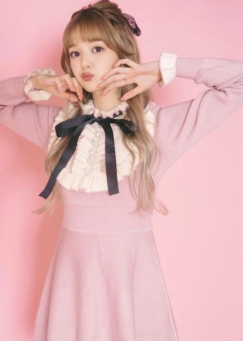 【ManonMimie】Frill Ribbon Knit Dress