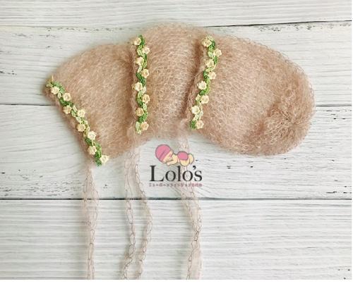 お花刺繍のプレミアムモヘア帽子
