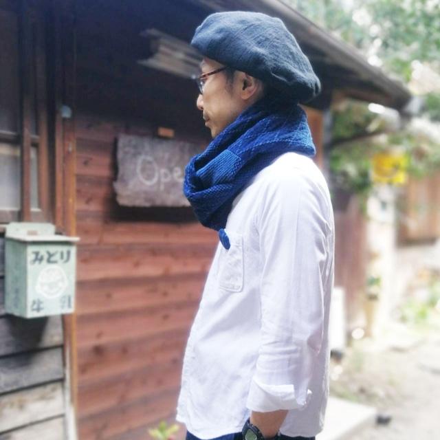 うしじま縫製 | 武州正藍染 スヌード 二重刺子