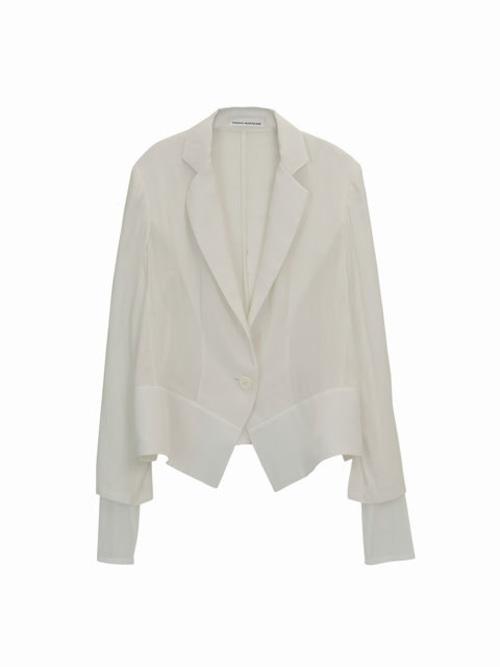 Tulle sleeve jacket  / white / S16JK02
