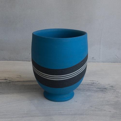 青い彩線紋のコップ②
