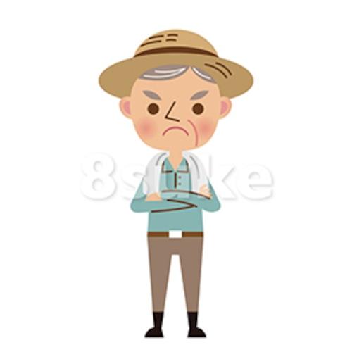 イラスト素材:腕組みをする年配の農夫(ベクター・JPG)