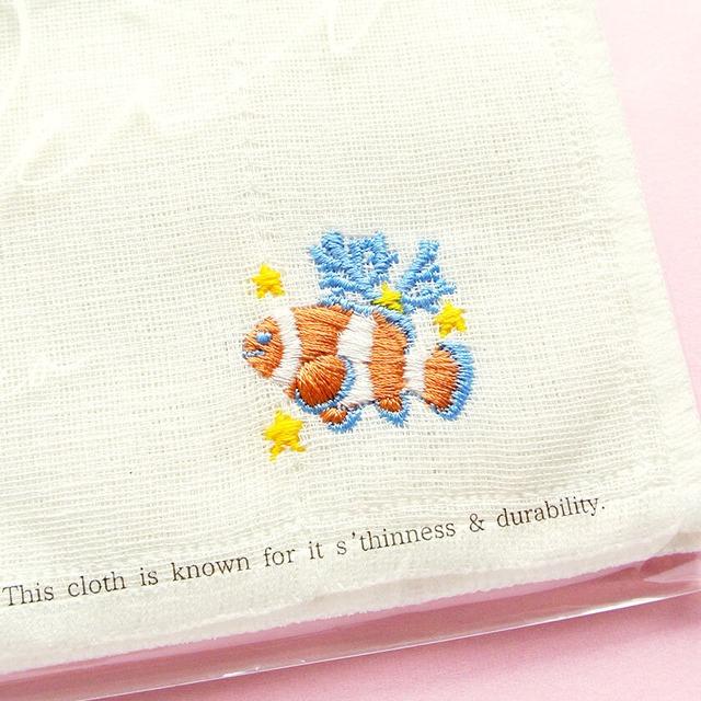 新商品《魚/クマノミ》 かやのふきん 布巾 白 キッチン雑貨 キッチン用品