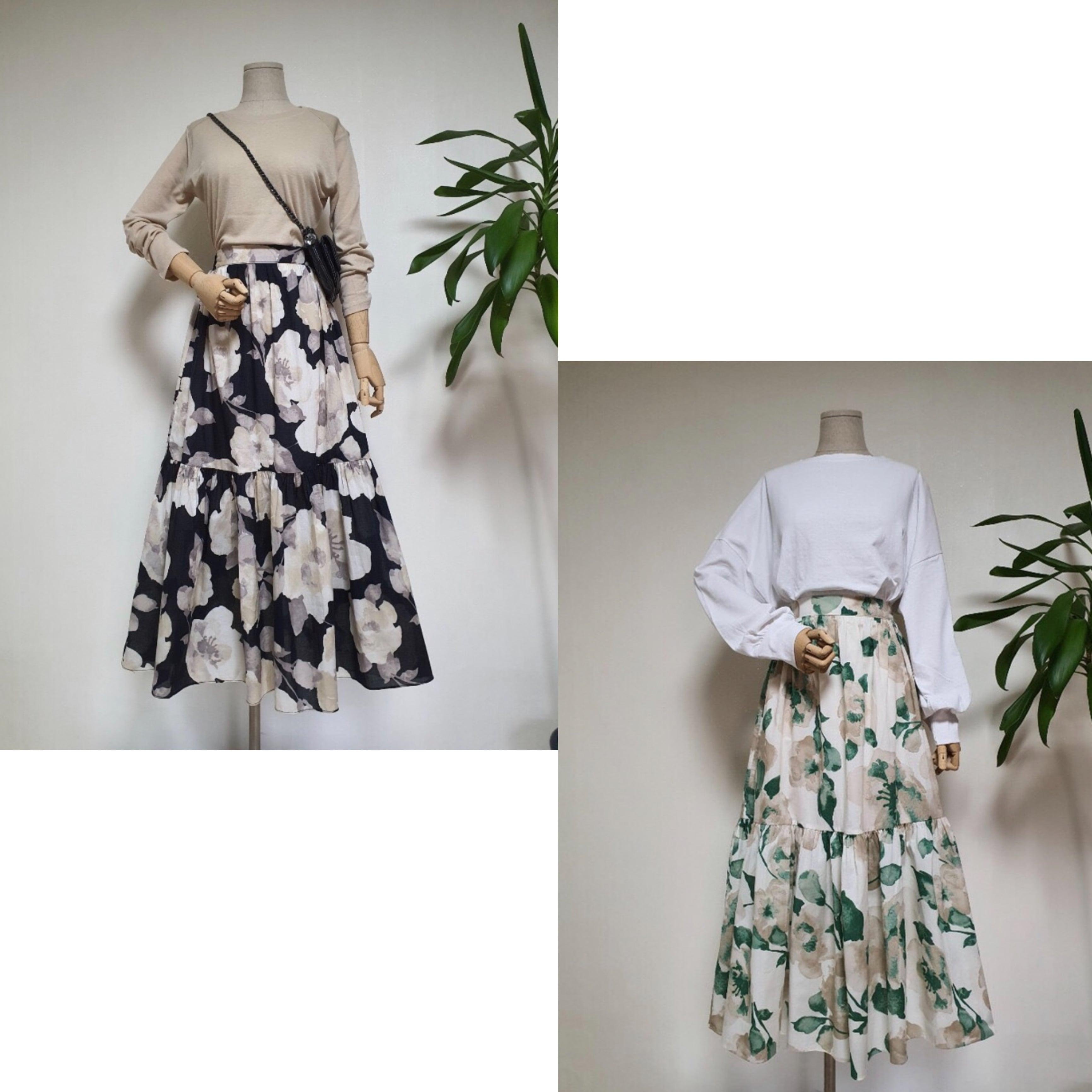 【BLACK:即納】フラワープリントロングスカート