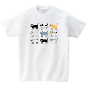 いろんな猫 Tシャツ かわいい 白猫 黒猫 白 プレゼント 大きいサイズ 綿100% 160 S M L XL