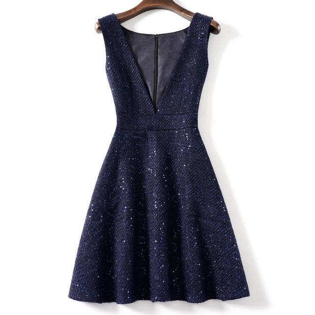 スパンコール ネイビー ノースリーブ ドレス【R1207】