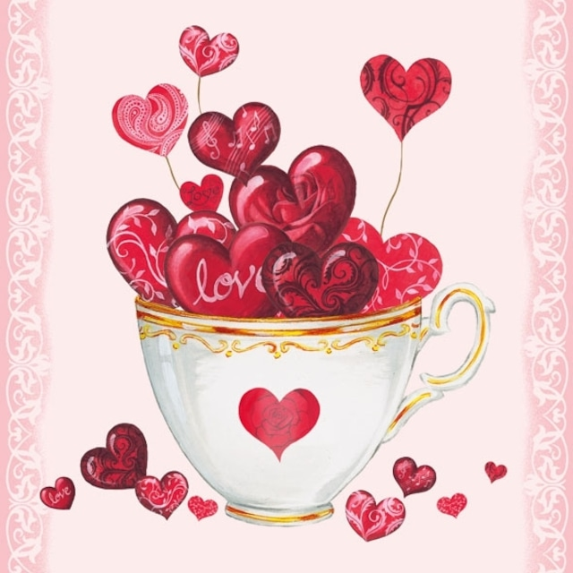 【Ambiente】バラ売り2枚 ランチサイズ ペーパーナプキン Cup of Hearts ピンク
