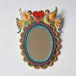 メキシコ ブリキ鏡(010)
