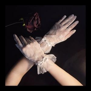 【お取り寄せ】フラワー リボン付き レース手袋