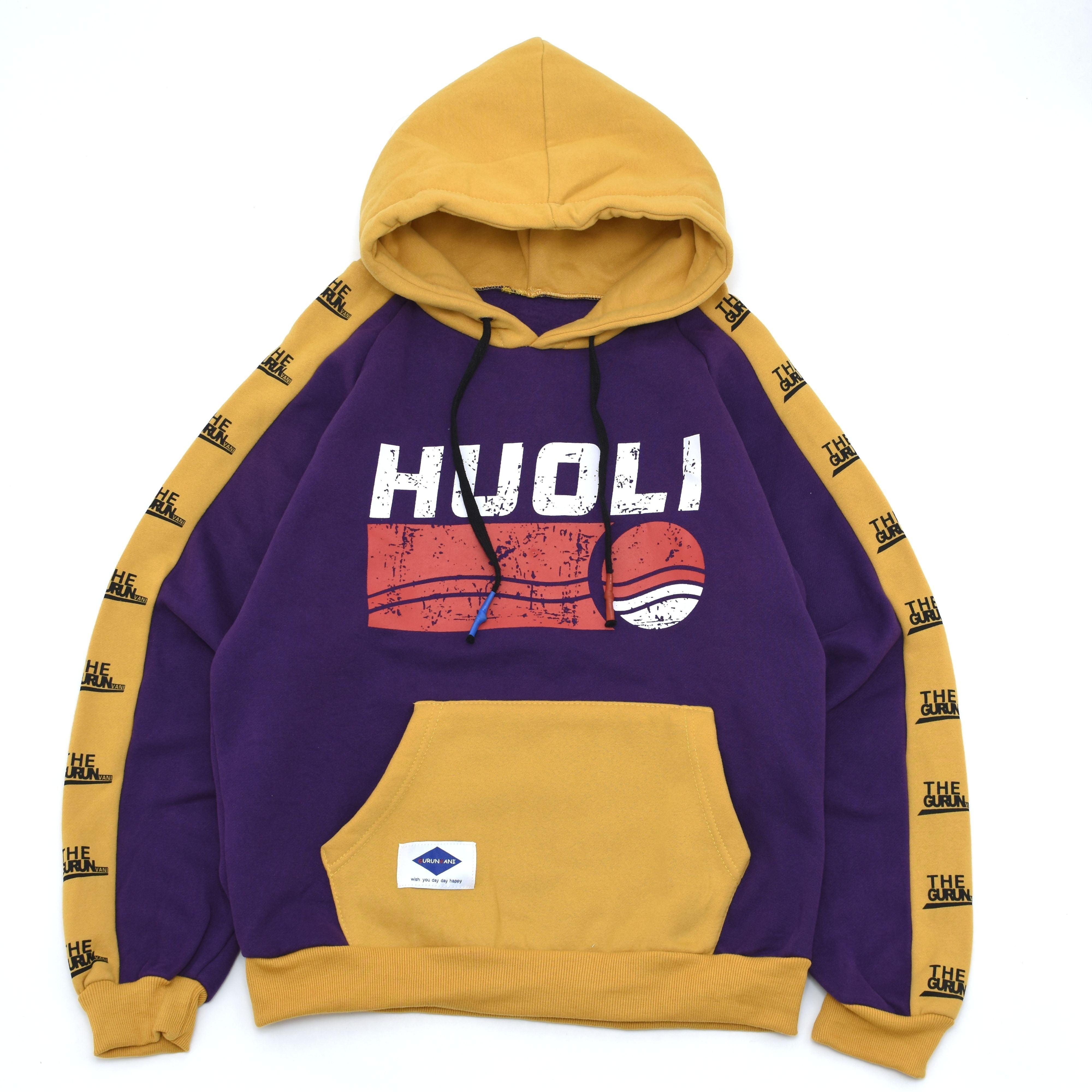 Swiching color print hoodie