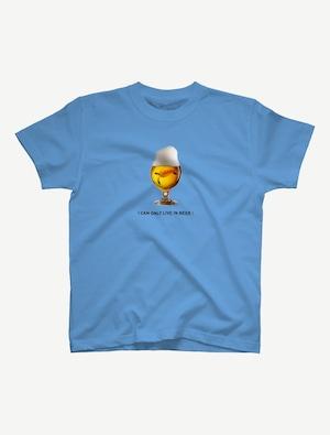 【ビールの中でしか・・・ウミガメ】Tシャツ(サックス)