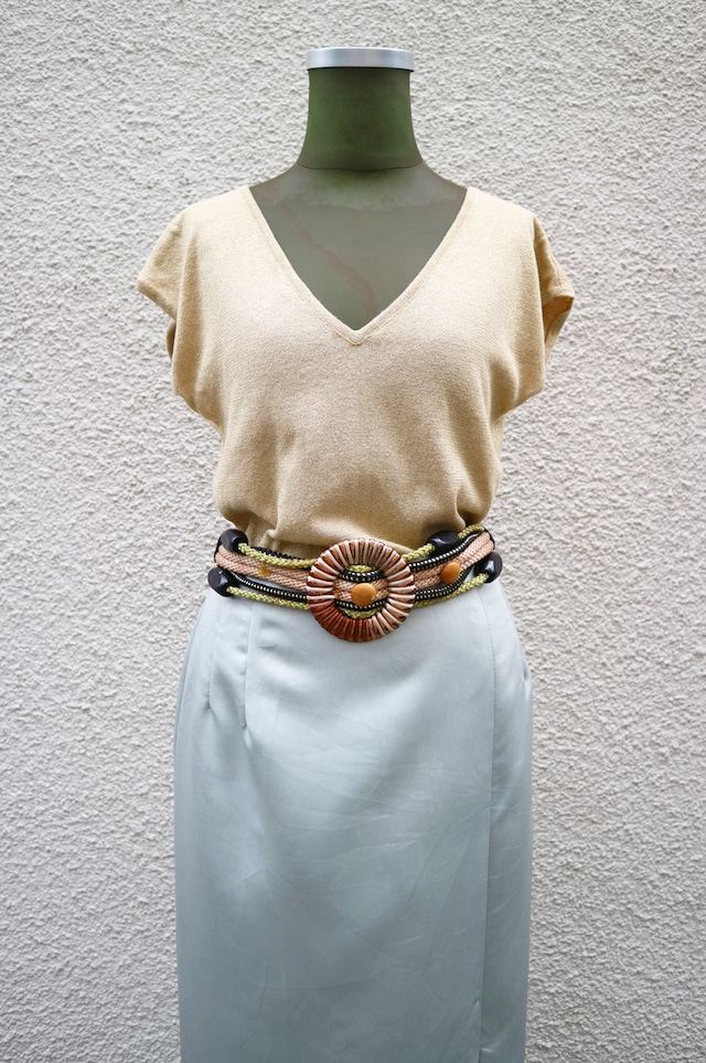 Yellow glitter knit tops
