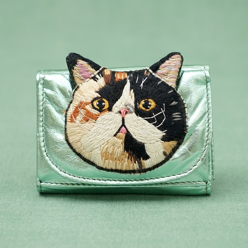 ねこミニ財布 calico cat/Metallic Green