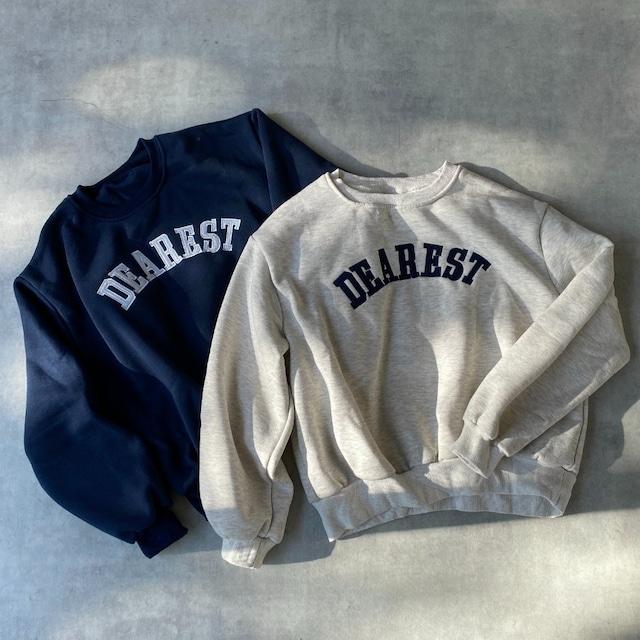 ◆即納◆裏起毛ビッグシルエット刺繍ロゴショート丈長袖プルオーバースウェット  OP-t263