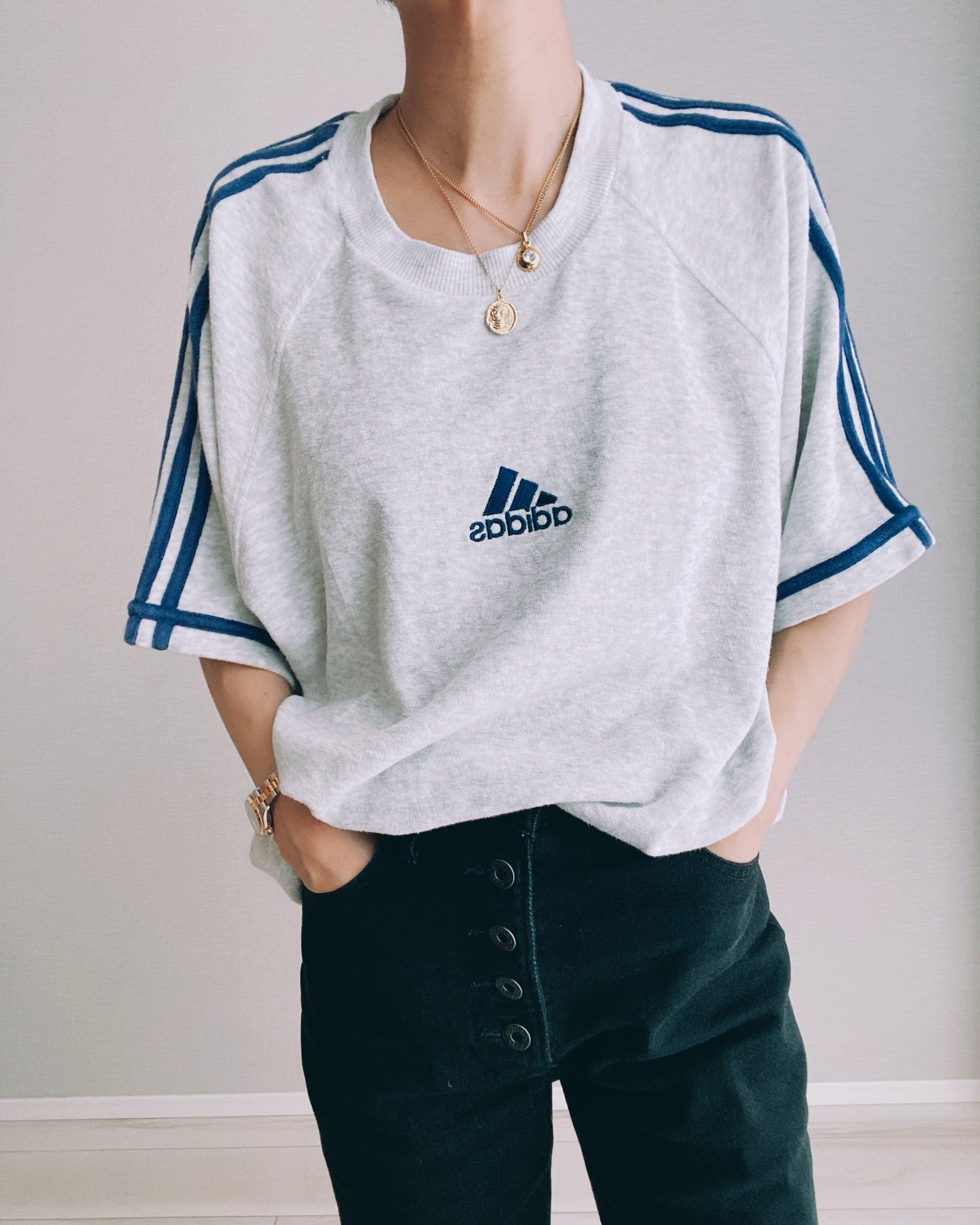 (CS437)90's adidas pile 3 stripe T-shirt