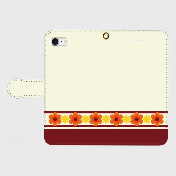 昭和デザイン花(橙・黄) / iPhoneスマホケース(手帳型ケース)