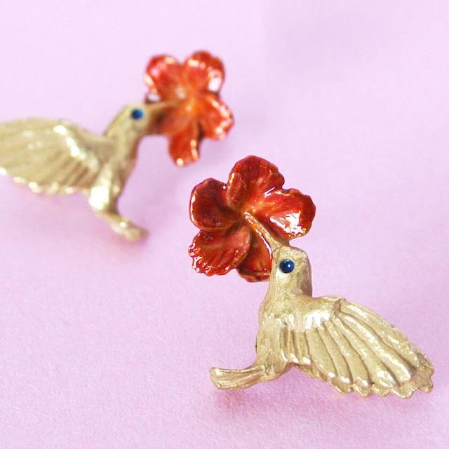 新商品《鳥/ハチドリ》 ピアス ハミングバード Palnart Poc パルナートポック 蜂鳥 PA202